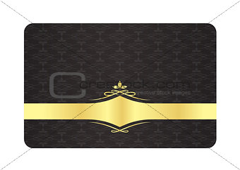 Black decorative card with golden label and vintage pattern