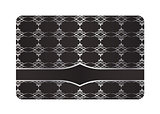Black decorative card with silver vintage pattern
