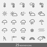 Set of 25 weather icons with stroke and light grey background