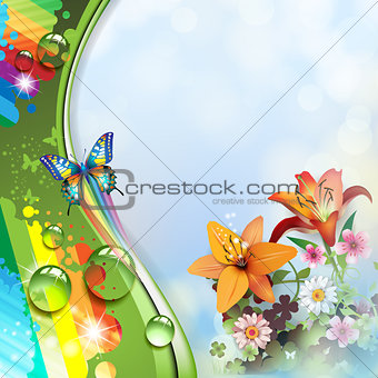 Lilies and butterflies