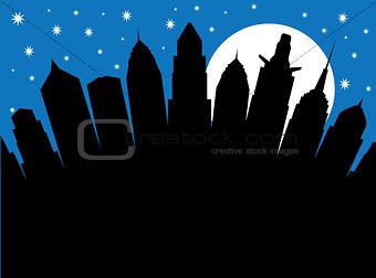 City at night under the moonlight