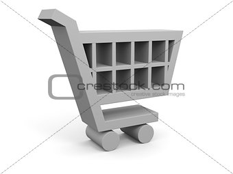 3D illustration of shopping trolley