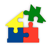 Colorful jigsaw house