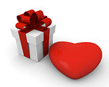 Valentine's Day gift box with a huge red heart