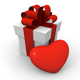 Valentine&#39;s Day gift box with a big red heart