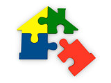 House symbol made of jigsaw pieces