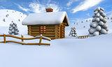 Log cabin in snow