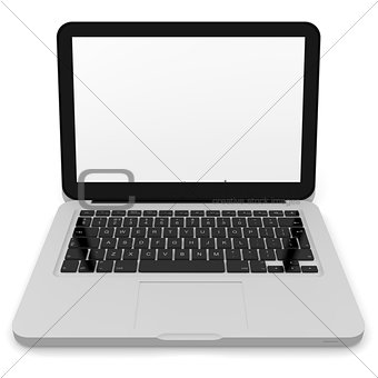 Modern laptop with white screen