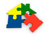 Puzzle pieces in shape of house