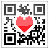 QR code with a red heart inside. QR-Code with a glossy effect.