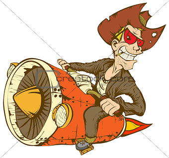 Biker-cowboy on a motorcycle turbo rocket.