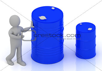 3D little person shows a barrel of oil