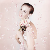 Beautiful Woman Holding Flowers At Vintage Wedding