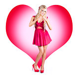 Cute Pinup Woman On Love Heart Symbol Background