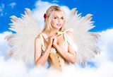 Cupid Angel Of Love Flying High With Fairy Wings