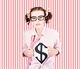Female Business Superhero Showing Dollar Sign
