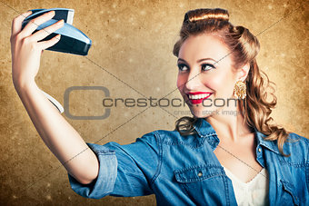 Beautiful Retro Woman Taking Selfie With Camera