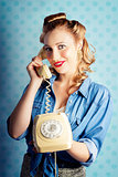 Sixties Woman Holding Vintage Telephone Handset