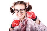 Strong Driven Business Woman Wearing Boxing Gloves