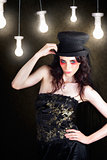 Gorgeous Female Fashion Model Wearing Top Hat