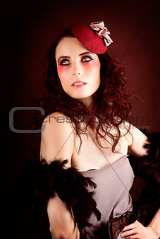Pretty Glamour Fashion Girl On Red Backlight