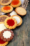 Cookies with chocolate and jelly filling.