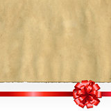 Retro Ripped Paper Banner With Red Bow