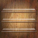 Glass Shelves On Brown Wooden Background