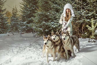 Fashion portrait of beautiful woman with three dogs