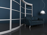 blue leather sofa is in a dark modern interior
