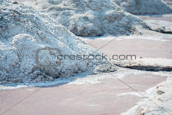 Salt piles in salt farm, India