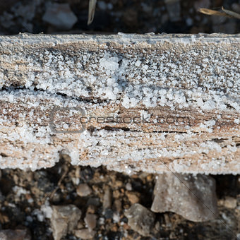 Natural salt crystal on wooden square log