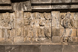 Relief at Borobudur temple on Java, Indonesia