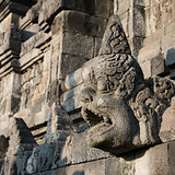 Carved drain at Borobudur temple on Java, Indonesia