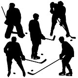 Set of silhouettes of hockey player. Vector  illustrations.