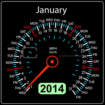 2014 year calendar speedometer car in vector. January.