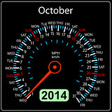 2014 year calendar speedometer car in vector. October.