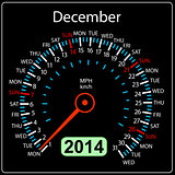 2014 year calendar speedometer car in vector. December.