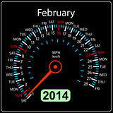 2014 year calendar speedometer car in vector. February.