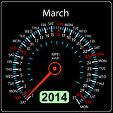 2014 year calendar speedometer car in vector. March.