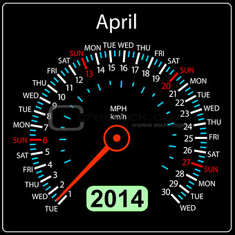 2014 year calendar speedometer car in vector. April.