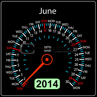 2014 year calendar speedometer car in vector. June.