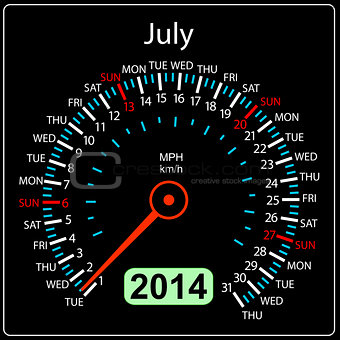 2014 year calendar speedometer car in vector. July.
