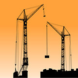 Silhouette of two cranes working on the building. Vector illustr