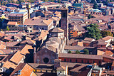 above view of cathedral in Bologna