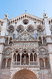 facade of Ferrara Cathedral, Italy