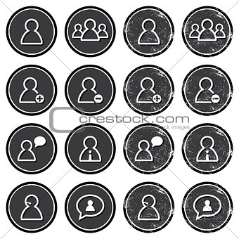 User retro labels set - businessman, customer service, staff avatars