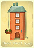 Cartoon Houses Postcard