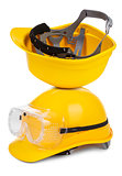 two yellow hard hats 