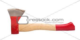 trying to use the ax with red handle isolated on white